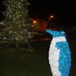 christmas penguin lights outside