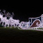 christmas sleigh and reindeers outside