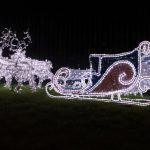 christmas sleigh and reindeers outside in dark